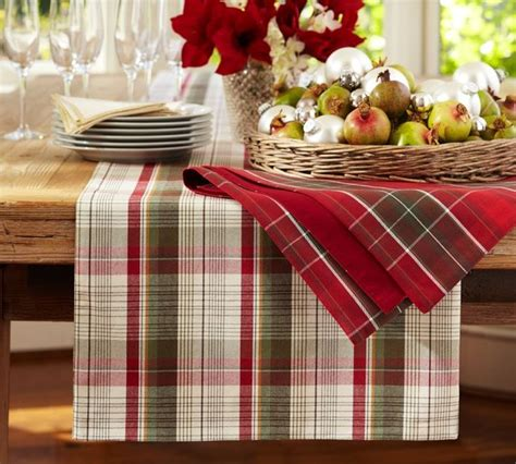 pottery barn christmas table runner plaid table runner traditional table runners by