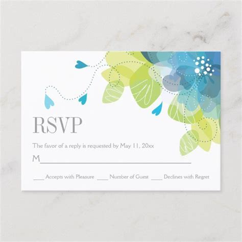 Blue delicate spring flowers floral wedding RSVP Zazzle