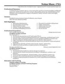 Free Resume Templates For Nursing Assistants by Resume Exle 39 Free Cna Resume Templates Cna Resume