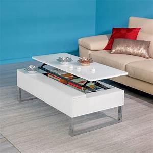 Table De Salon Alinea : novy table basse avec tablette relevable blanche ~ Dailycaller-alerts.com Idées de Décoration