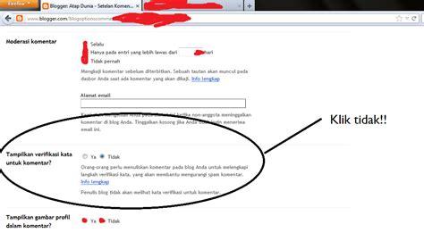 cara membuat komentar di blog tanpa verifikasi kata atap dunia
