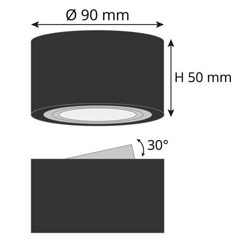 Extra Flacher Deckenspot Aufbau Alu Schwarz Schwenkbar