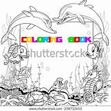 Cartoon Crab Fish Vector Swim Funny Bottom Floats Shutterstock Outline Coloring sketch template