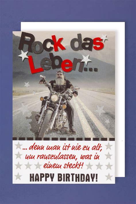 maenner geburtstag karte grusskarte glitterdruck biker rock