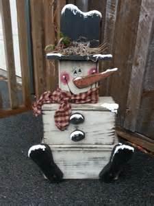 Christmas Wood Block Snowman