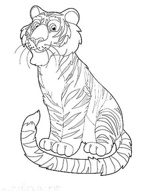 happy safari  exotic animal tiger coloring page