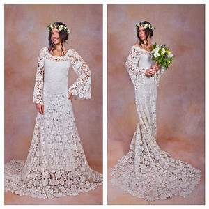 70s style lace bohemian wedding dress ivory or white crochet With 70s style wedding dresses