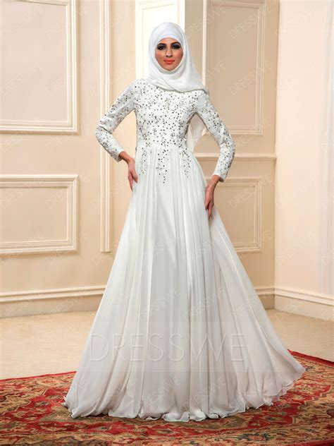 charming beading long sleeves   floor length muslim