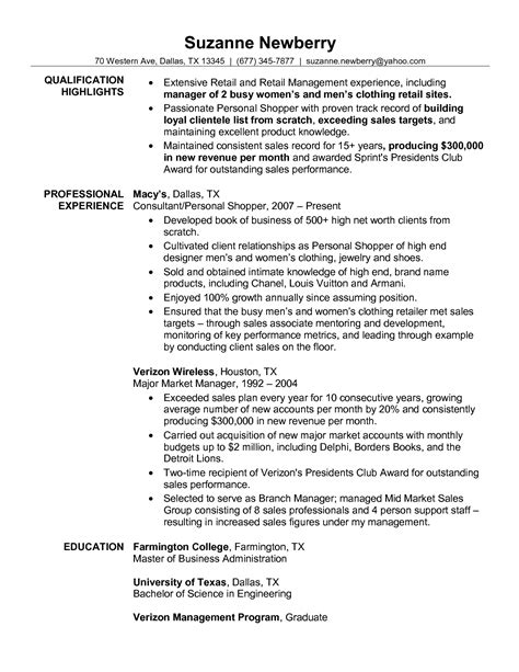 Kinds Of Resume Sle by Sle Resume For All Types Of Cv For Retail Resume Sales Retail Lewesmr