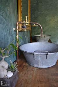 salle de bain de style campagne dont le meuble sous vasque With salle de bain style ancien