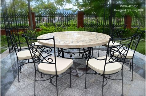 mosaic outdoor dining table 60cm outdoor garden round mosaic stone marble dining table