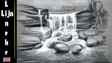 drawing  waterfall  charcoal  white pastel  easy