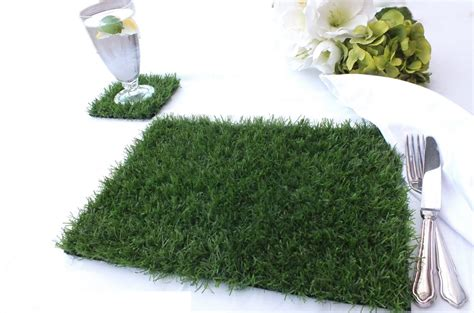 Grass Mats Uk - artificial grass place mat and coaster set at evergreen