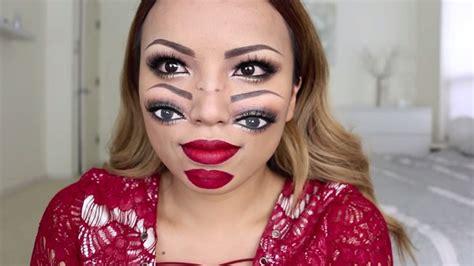makeup artists trippy double face halloween illusion  freak   designtaxicom