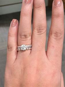 Wedding rings with a micro pave engagement ring weddingbee for Wedding rings to go with solitaire engagement ring