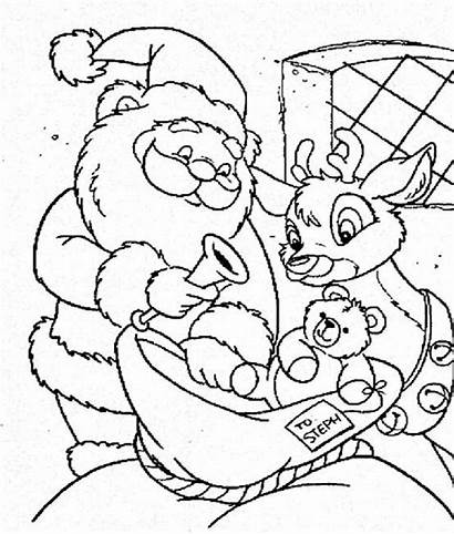 Rudolph Santa Coloring Claus Christmas Pages Present