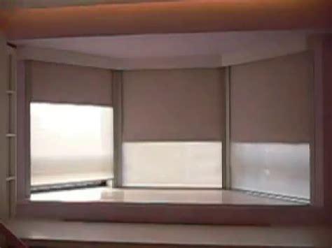 motorized roller blinds install   bay window