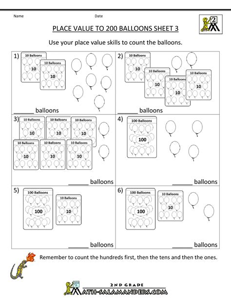 place value worksheet numbers to 200