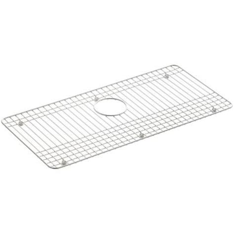 kohler dickinson 27 1 2 in x 13 1 4 in bottom sink basin rack in stainless steel k 6062 st