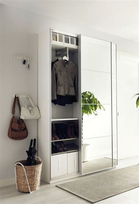 Garderobe Ikea by Ikea Hallway Storage Mirror Sliding Panel Small Space