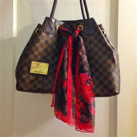 louis vuitton inspired lv large brown purse  scarf