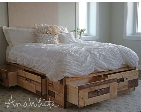 ana white brandy scrap wood storage bed  drawers