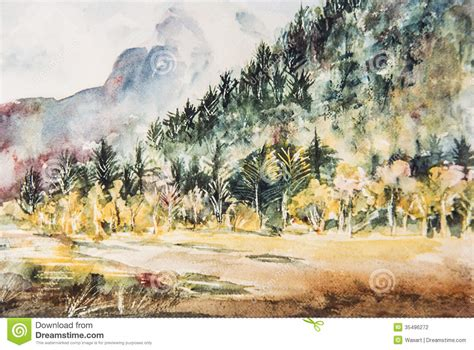 impressionist watercolor painting  mountain  trees
