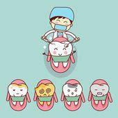 dentista de dibujos animados lindo con diente ilustraciones de stock royalties gratis