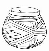 Coloring Pot Pottery Pages Template sketch template