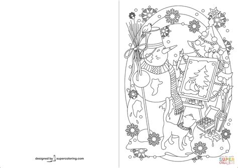 Coloring Cards by Snowman Painting Tree Greeting Card Coloring