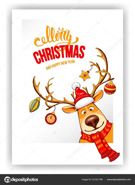 Get a new free font, free graphic and free craft each day. Merry Christmas Happy New Year Greeting Design Cartoon ...