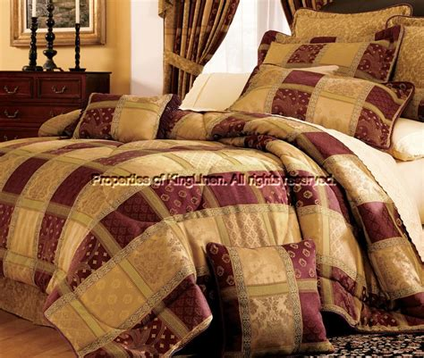 7 burgundy patchwork cal king comforter set ebay