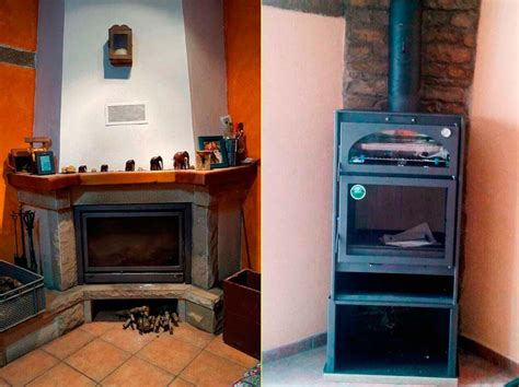 sustitucion de una chimenea rustica por una estufa horno