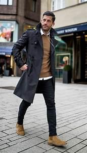 Style Classe Homme : classique chic trench noir et pull camel tenue classe homme tendance mode homme l gant et ~ Melissatoandfro.com Idées de Décoration