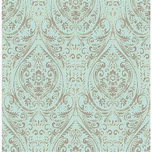 NuWallpaper Blue Nomad Damask Peel and Stick Wallpaper ...