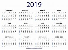 2019 Calendars – Download Printable PDF Calendar Templates