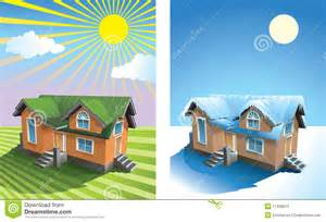 covered porch house plans house in summer and winter stock photos image 17438613