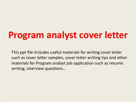 Policy Analyst Cover Letter by Program Analyst Cover Letter
