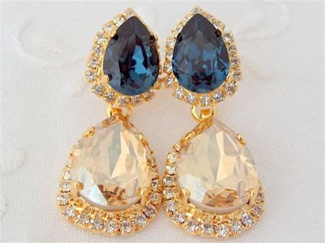 chagne and navy blue chandelier earrings bridal