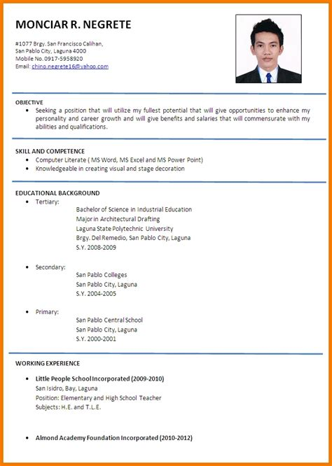 Sle Of Applicant Resume by Resume Format For Applicant 28 Images The Standard Resume Format For A Winning Applicant