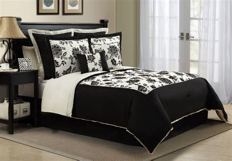 modern bedroom with romantic black white bedding sets