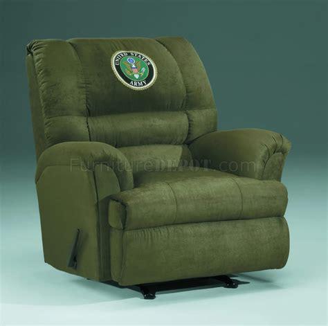 hunter fabric modern rocker recliner wus army emblem