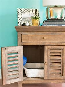 how to conceal a litter box in a table hgtv With why should you concern on litter box cover