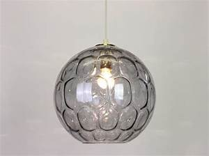 Large blue bubble glass pendant light by limburg germany