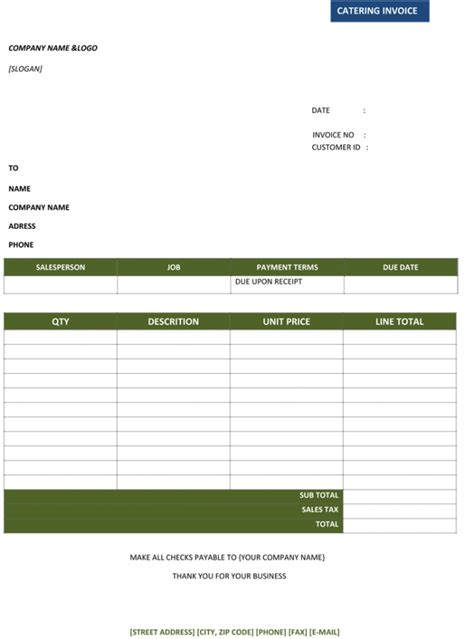 catering invoice templates  decorative business