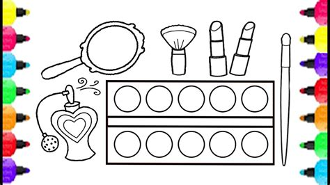 coloring set make up set coloring pages how to draw make up set for
