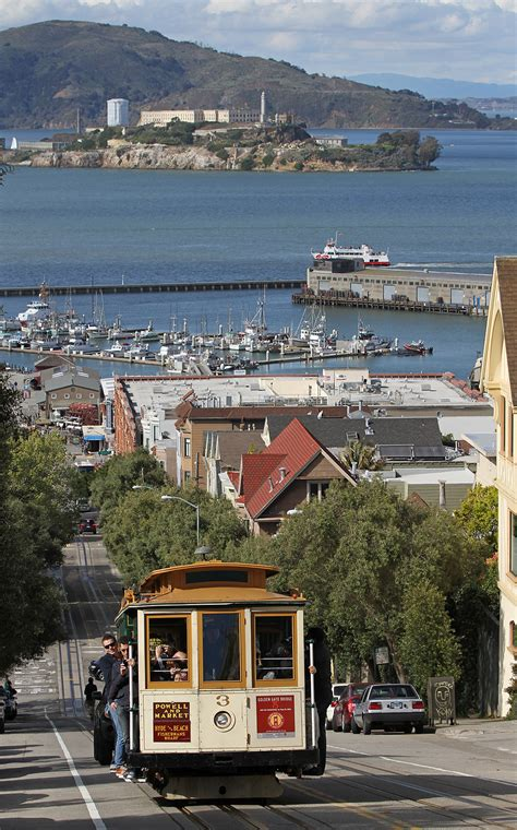 3 Cable Car On Hyde St With Alcatraz, Sf, Ca, Jjron