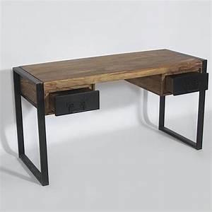 Meuble Bureau But : bureau industriel bois et m tal 2 tiroirs made in meubles ~ Teatrodelosmanantiales.com Idées de Décoration