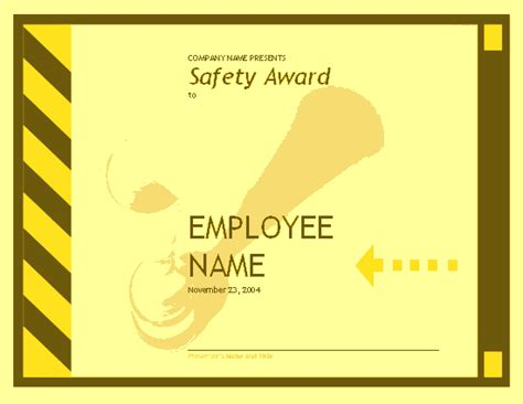 Safety Certificate Template by Employee Safety Award Free Certificate Templates In