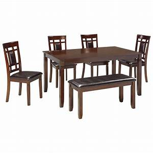 Set De Table Design : contemporary 6 piece dining room table set with bench by signature design by ashley wolf and ~ Teatrodelosmanantiales.com Idées de Décoration